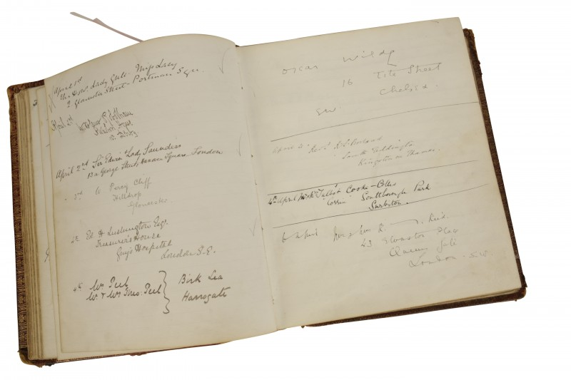 Detail of the Visitors' Book, Oscar Wilde's signature is top right. Courtesy of Duke's Fine Art Auctions.