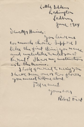 Letter from Frost to Haines, June 1914.