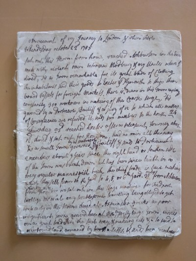 The first page of the diary.
