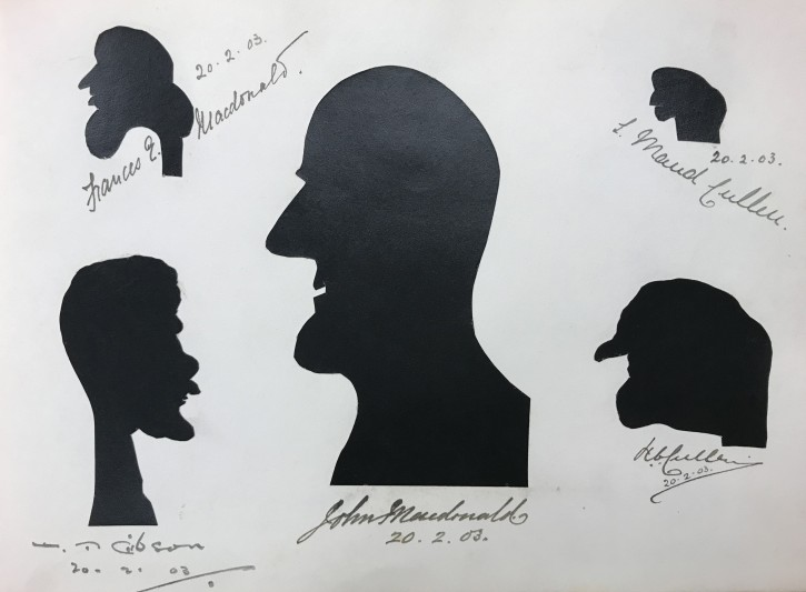 Silhouettes of Frances & John Macdonald, T Gibson, L Maud and G Cullen, 1903.  Courtesy of Glasgow School of Art.