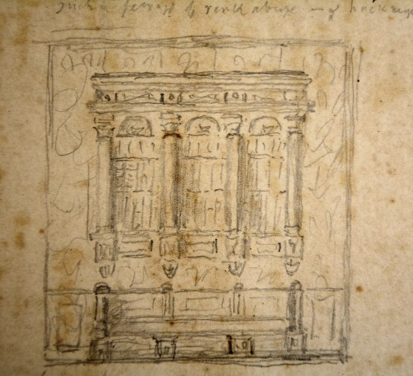 Detail of Beckford's sketch of the wall mounted bookcase.