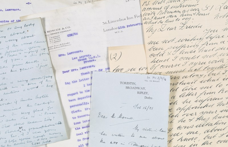 Letters and telegrams concerning D H Lawrence's literary estate (LA/Mc2/7).