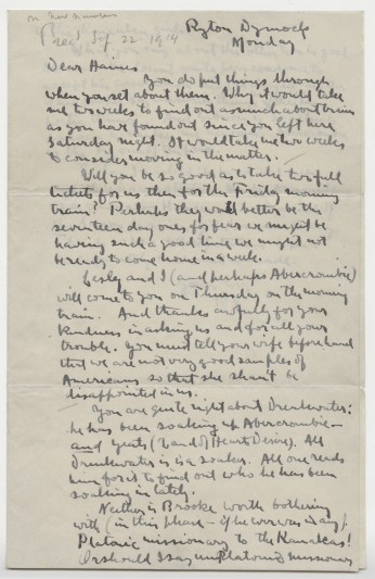 Letter from Robert Frost to J W Haines, September 22, 1914.
