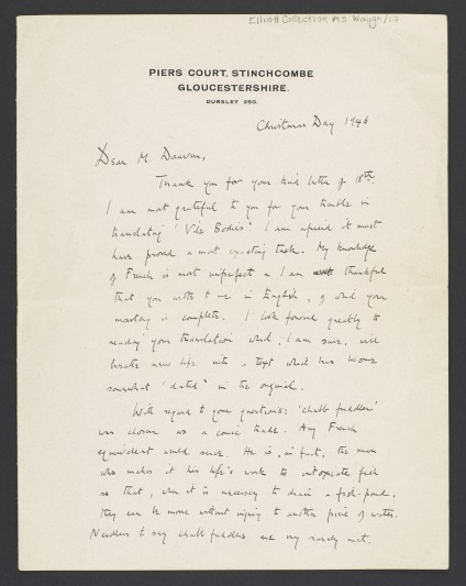 25 Dec 1946: Autograph letter and signed portrait, Evelyn Waugh to Jean Dauven, his French translator.