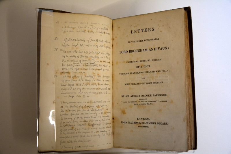 Title page with Beckford's notes.  Images courtesy of Beckford's Tower Trust.