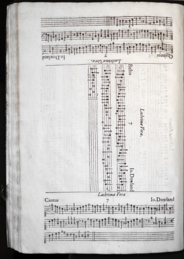Page of music from the Lachrimae, showing the alto and tenor parts, as well as tablature for the lute.