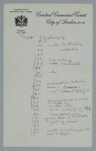 A page of Mrs Byrne's notes.