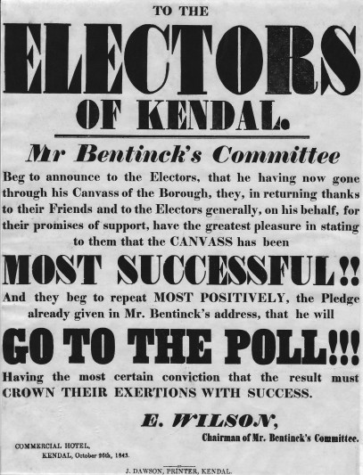 A pro-Tory broadside printed by J. Dawson (Kendal) for the 1843 Kendal by-election.