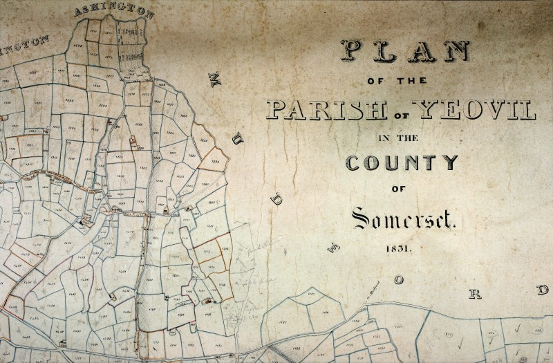 Detail of a parish map of Yeovil, 1831.  Images courtesy of the South West Heritage Trust.