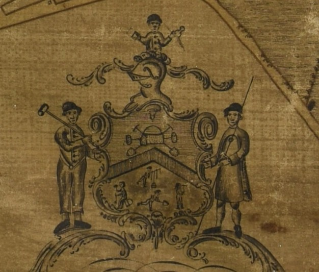 Detail of the cartouche with images of lead miners.