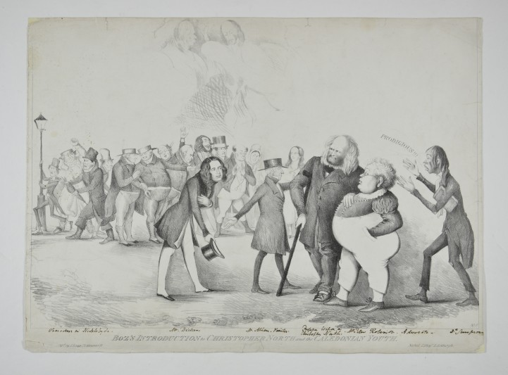 Cartoon of Charles Dickens being presented to the Edinburgh literati, 1841.