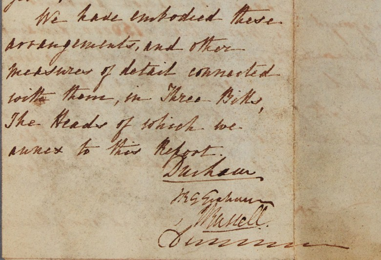 Draft letter addressed to Earl Grey, signed by the Commission of Four, 14 January 1831.