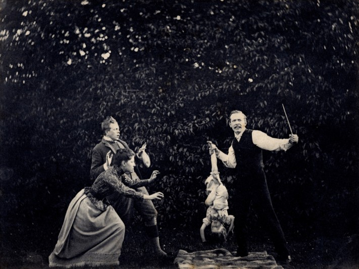 Family play, c.1890. L-r: Willy Plunket, Violet Coghill, Hebe Coghill.  Images courtesy of Queen's University, Belfast.
