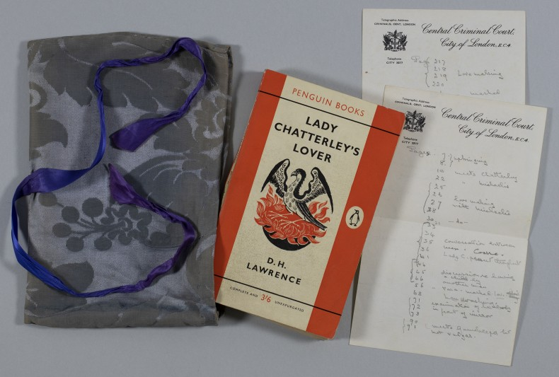 Lady Chatterley's Lover with Mrs Byrne's notes and 'modesty bag'.