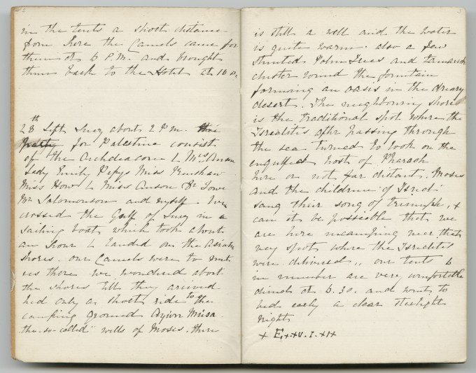 Journal 3, p. 2–3 (Gulf of Suez and Sinai Peninsula, 28 February 1876). © Griffith Institute, University of Oxford