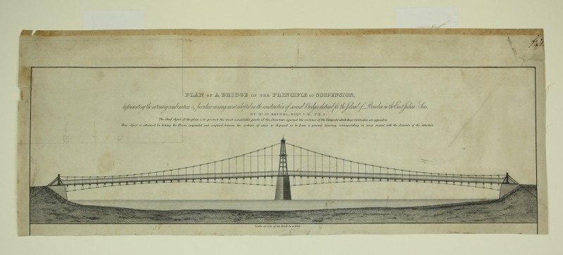 Design for a suspension bridge for the Isle of Bourbon.