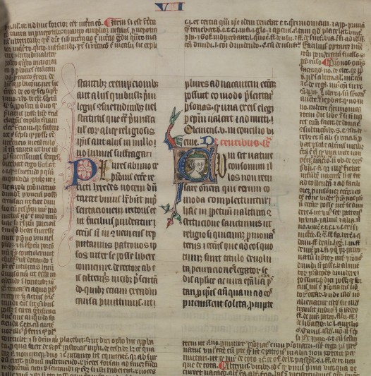 Detail from an early 14th century fragment of the Constitution of Pope Clement.  Courtesy of Lincolnshire Archives.