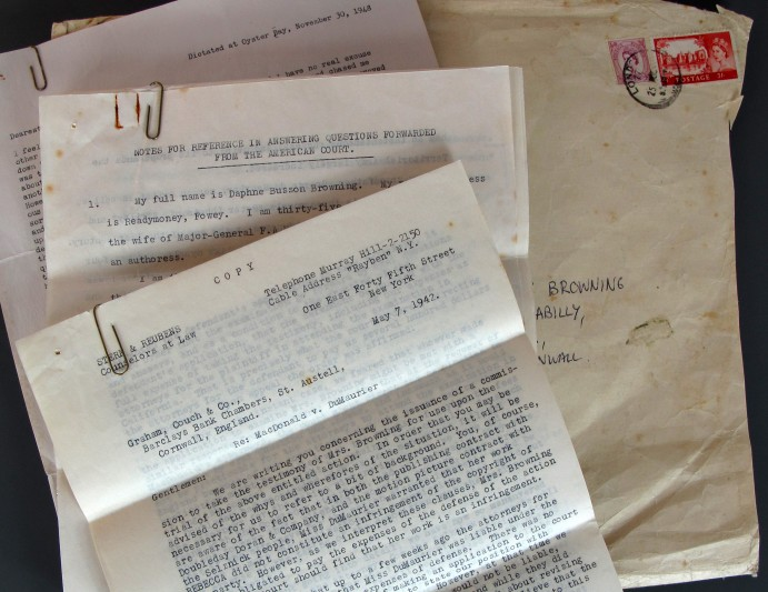 Papers relating to the case of Macdonald v du Maurier in the US court in 1942