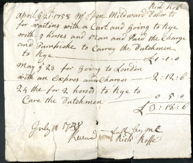 Richard Roffe's bill for a cart to carry the Dutchmen to Rye in 1758.