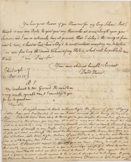 Hume's letter.