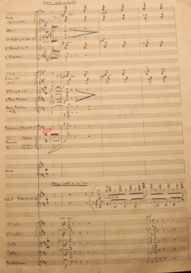 Autograph manuscript of Benjamin Britten's Piano Concerto, Movement 1, first page. Courtesy of the Britten Pears Archive.