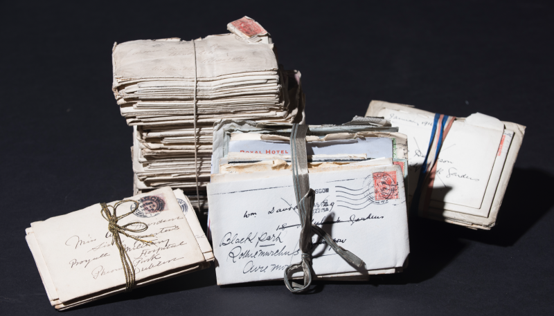 A bundle of letters from the William Davidson Family Archive. Courtesy of the University of Glasgow