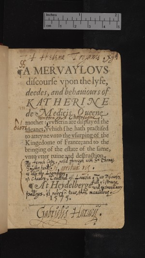Title page showing Harvey's signature & note about 'my French copy'.