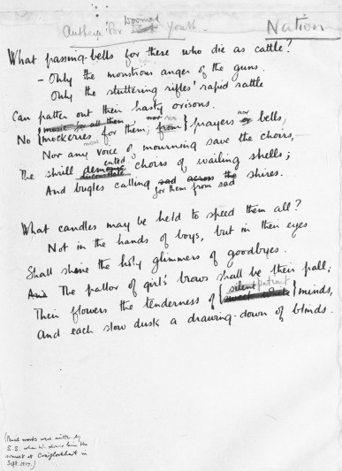 Wilfred Owen 'Anthem for a Doomed Youth'.  FNL grant 1933. Image courtesy of the British Library and by permission of the Estate of Wilfred Owen.