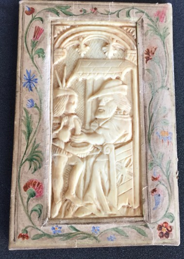 Ivory plaque, 15th century, attached to the verso of the upper board.