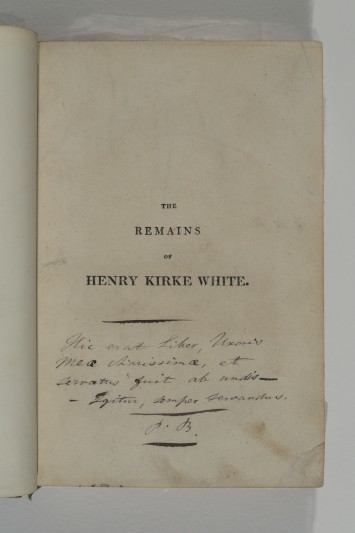 Patrick Bronte's inscription inside The Remains of Henry Kirke White. Image courtesy of Bronte Society.