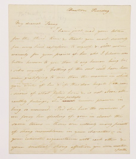 Cassandra Austen's letter on the death of Jane Austen. Image courtesy of Jane Austen's House Museum.