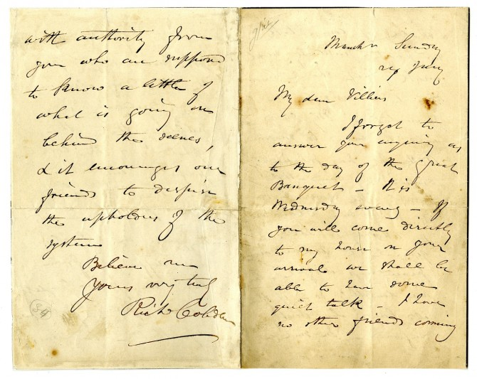 Cobden's letter to Villiers.  Image courtesy of West Sussex Record Office.