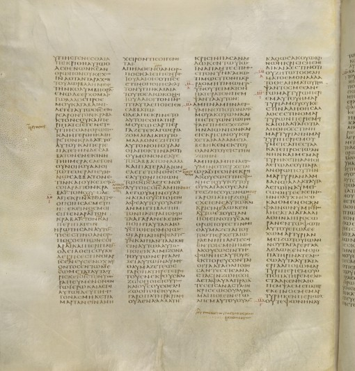 The Codex Sinaiticus, FNL grant to British Library 1933.  Image by kind permission of the British Library