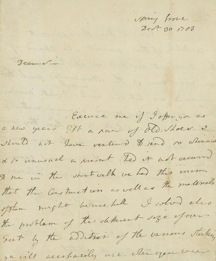 Letter from Sir Joseph Banks to William Herschel, 1783. Image courtesy of the Herschel Miuseum.