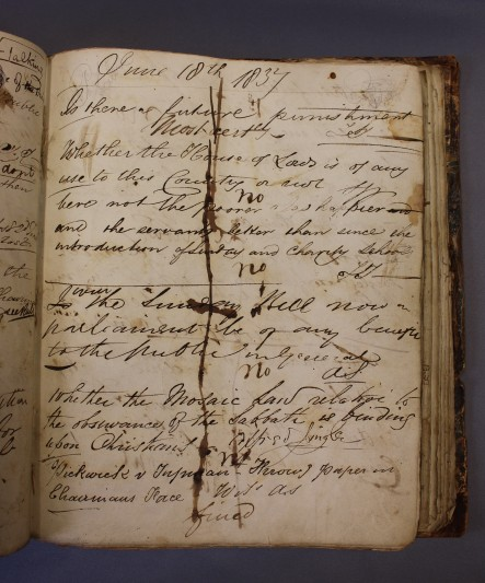 Minute Book of the Pickwick Club, 1837-43. Courtesy of Charles Dickens Museum.