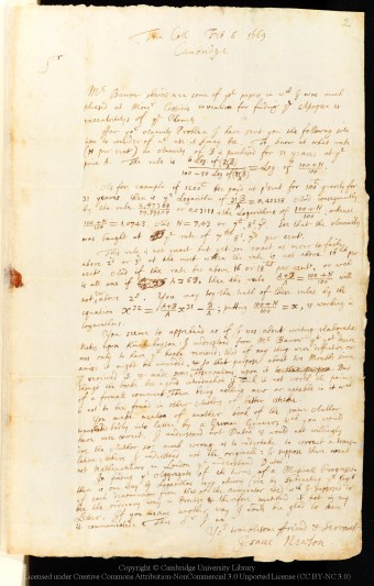Letter from Isaac Newton to John Collins, 6 February 1669/70, written from Trinity College. Image courtesy of Cambridge University Library.
