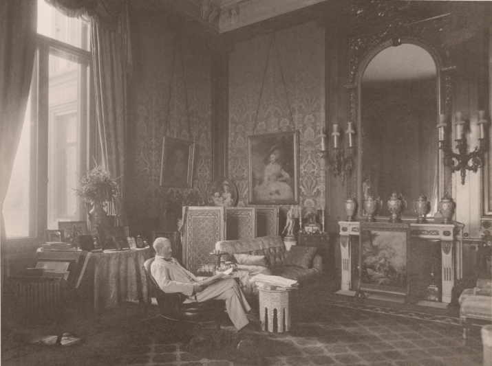 Baron Ferdinand Rothschild in the Baron's Room from the Red Book, 1897. © Trustees of the British Museum.