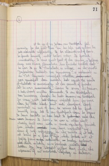First page of Laurens van der Post's draft manuscript of 'In a Province', c.1931. Courtesy of Durham University Library.